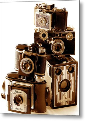Antique Snapshot Cameras Metal Print by L S Keely