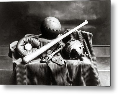 Metal Print featuring the photograph Antique Sports Equipment - American Athletics by Mark Tisdale
