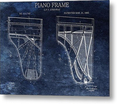 Antique Steinway Piano Patent Metal Print by Dan Sproul
