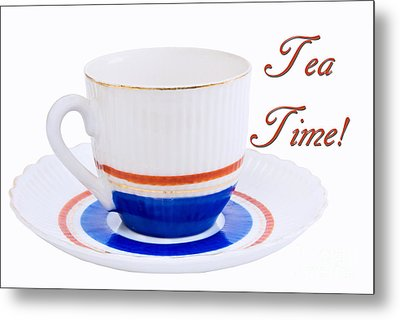 Antique Teacup From Japan With Tea Time Invitation Metal Print