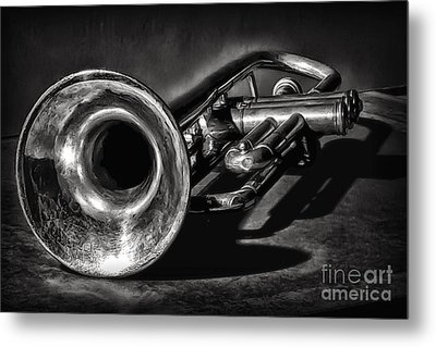 Antique Trumpet 1 Metal Print by Walt Foegelle