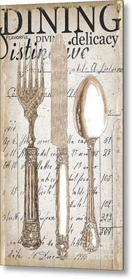 Antique Utensils For Kitchen And Dining In White Metal Print by Grace Pullen