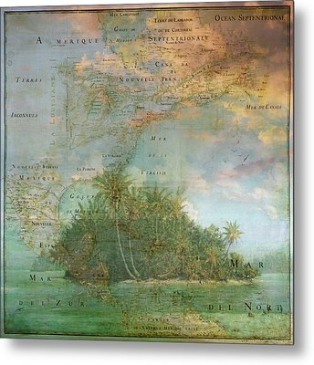 Metal Print featuring the photograph Antique Vintage Map Of North America Tropical Ocean by Debra and Dave Vanderlaan