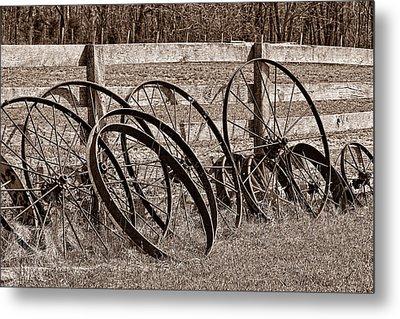 Antique Wagon Wheels I Metal Print by Tom Mc Nemar