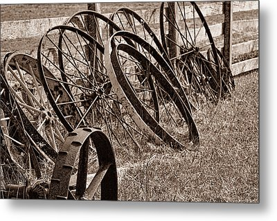 Antique Wagon Wheels II Metal Print by Tom Mc Nemar