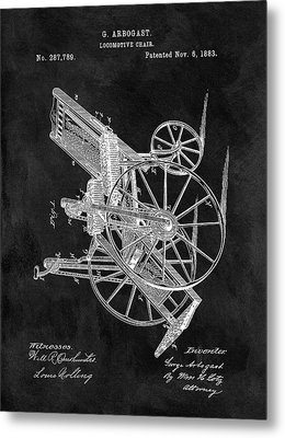 Antique Wheelchair Patent Metal Print by Dan Sproul