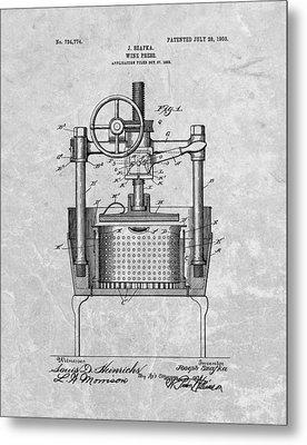 Antique Wine Press Patent Metal Print