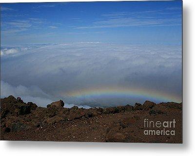Anuenue - Rainbow At The Ahinahina Ahu Haleakala Sunrise Maui Hawaii Metal Print