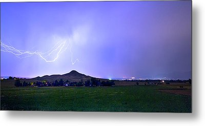 Metal Print featuring the photograph Anvil Lightning Striking Above Haystack Mountain Panorama by James BO Insogna