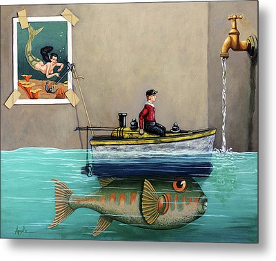 Anyfin Is Possible - Fisherman Toy Boat And Mermaid Still Life Painting Metal Print by Linda Apple