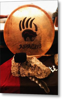 Apache Drum Metal Print by Ayasha Loya