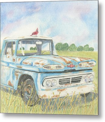 Metal Print featuring the drawing Apache Out To Pasture by Arlene Crafton