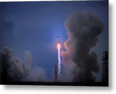 Apollo 11 Blasts Off On Mans First Metal Print by O. Louis Mazzatenta