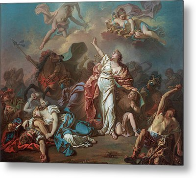 Apollo And Diana Attacking The Children Of Niobe Metal Print by Jacques-Louis David