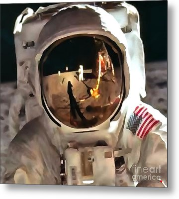 Apollo Moon Mission In Thick Paint 1 Metal Print by Catherine Lott