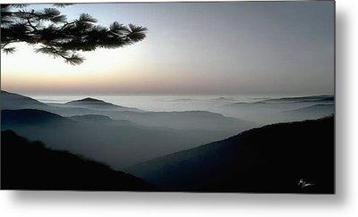 Appalachian Smoky Mountain Fog Panoramic Misty Dawn  Sunrise Sunset Scene Picture Decor Metal Print