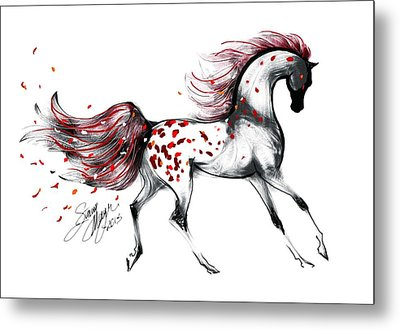 Appaloosa Rose Petals Horse Metal Print