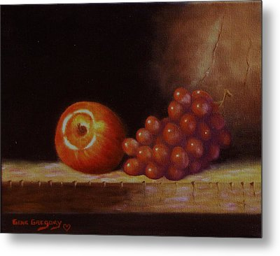 Apple And Grapes Metal Print by Gene Gregory