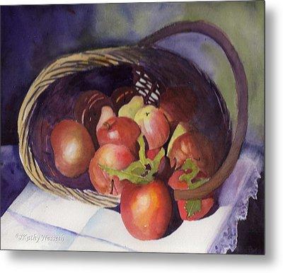 Apple Basket Metal Print by Kathy Nesseth