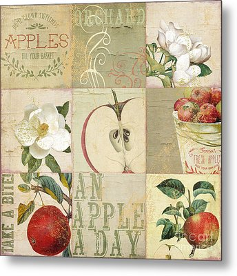 Apple Blossoms Patchwork I Metal Print by Mindy Sommers