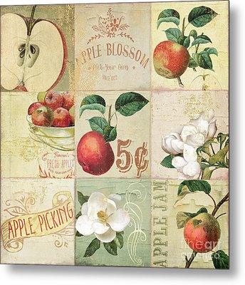 Apple Blossoms Patchwork II Metal Print by Mindy Sommers