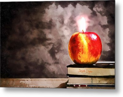 Apple Candle Metal Print