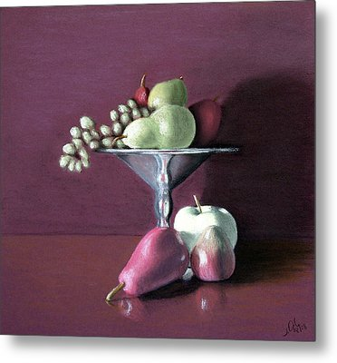 Metal Print featuring the painting Apple  Pears And Grapes by Joseph Ogle