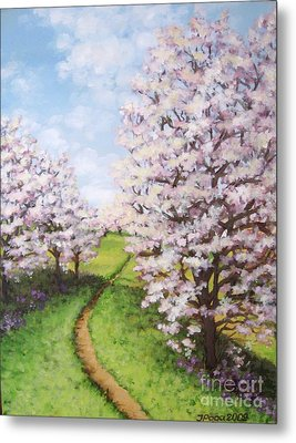 Metal Print featuring the painting Apple Trees Along The Path by Inese Poga