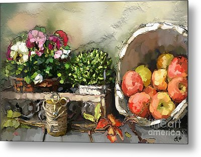 Apples And Angel Hearts Metal Print by Carrie Joy Byrnes