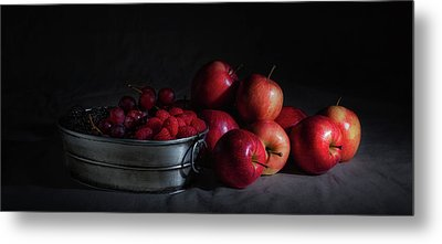 Apples And Berries Panoramic Metal Print by Tom Mc Nemar