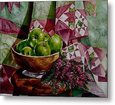 Apples And Heather Metal Print by Susan Elise Shiebler