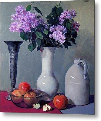 Apples And Lilacs,silver Vase,vintage Stoneware Jug Metal Print