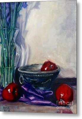 Metal Print featuring the painting Apples And Silk by Rebecca Glaze