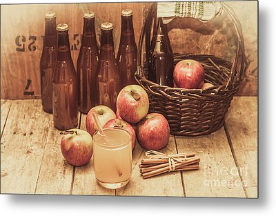 Apples Cider By Wicker Basket On Wooden Table Metal Print by Jorgo Photography - Wall Art Gallery