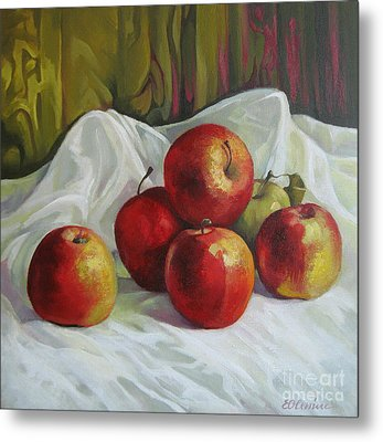 Metal Print featuring the painting Apples by Elena Oleniuc