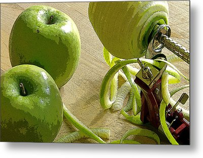 Apples Getting Peeled Metal Print