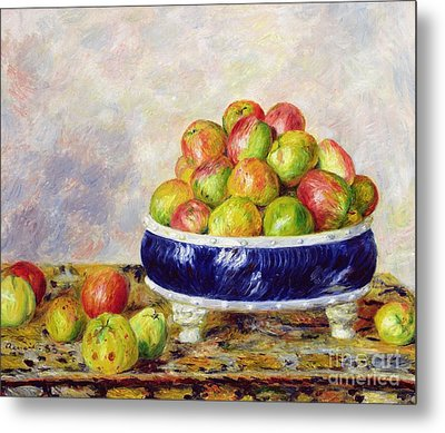 Apples In A Dish Metal Print by  Pierre Auguste Renoir