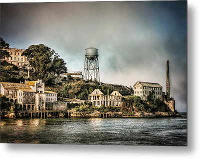 Approaching Alcatraz Island And Water Tower  Metal Print by Jennifer Rondinelli Reilly - Fine Art Photography