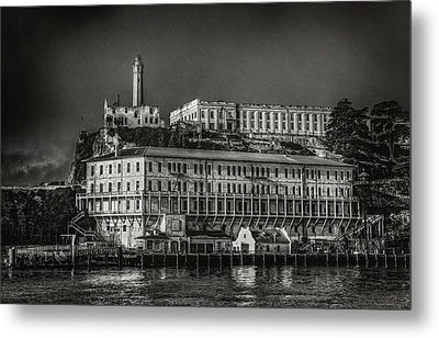 Approaching Alcatraz Island In Black And White Metal Print by Jennifer Rondinelli Reilly - Fine Art Photography