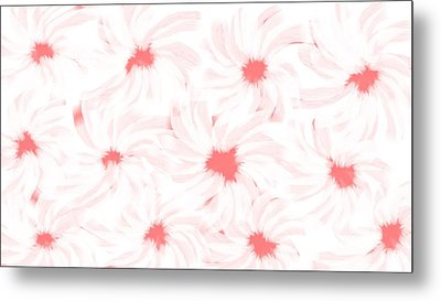 'apricot And White Flower Abstract 2' Metal Print