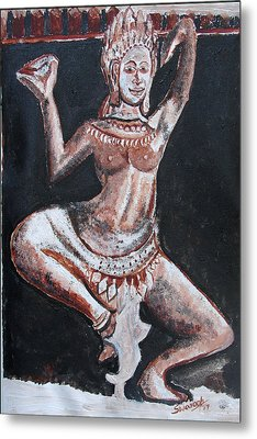 Metal Print featuring the painting Apsara Dancing by Anand Swaroop Manchiraju