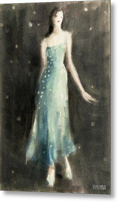 Aqua Blue Evening Dress Metal Print by Beverly Brown