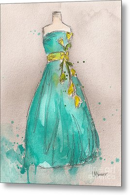 Aqua Dress Metal Print by Lauren Maurer
