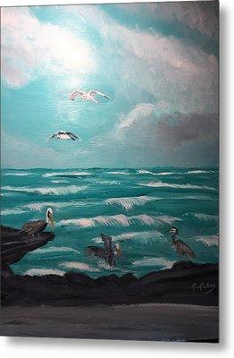 Aqua Marine Seaside Metal Print by Terry Tuley