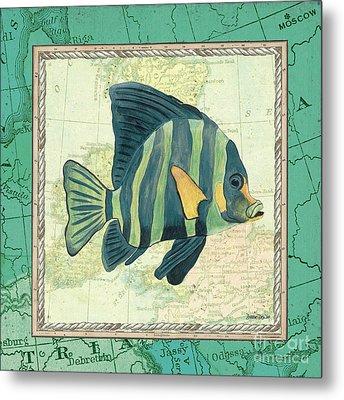 Aqua Maritime Fish Metal Print by Debbie DeWitt