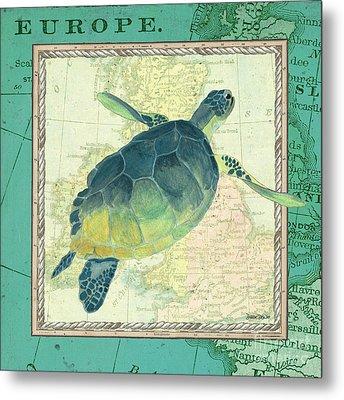 Aqua Maritime Sea Turtle Metal Print by Debbie DeWitt