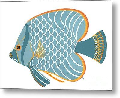 Aqua Mid Century Fish Metal Print