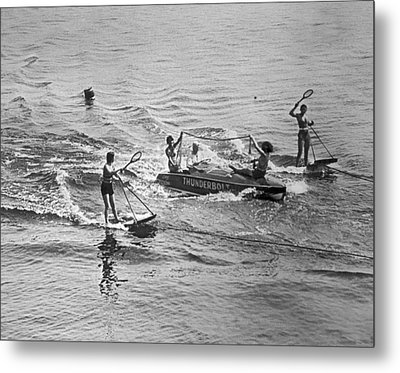 Aquaplane Tennis Metal Print by Underwood Archives