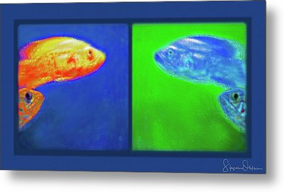 Aquarium Art - Inverted Diptych 2 - Signed Limited Edition Metal Print by Steve Ohlsen