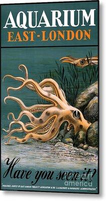 Aquarium Octopus Vintage Poster Restored Metal Print